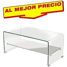 MESA BAJA, MESA AUXILIAR MADERA, MESA SALÓN CRISTAL CURVADO, 100X48 CMS- OFERTAS HOGAR -¡AL MEJOR PRECIO!