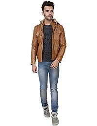 Derbenny Tan Hooded Leather Slim Fit designer Jacket for Man