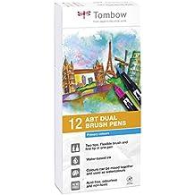 Tombow Dual Brush - Estuche 12 rotuladores doble punta pincel, multicolor