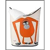 & # x272E; 3Sprouts & # x272E; cesto para ropa 100% poliéster | bolsa de almacenaje infantil | asas plegables–Apertura Fácil | Beige y naranja–diseño: orangután | dimensiones: 48x 56x 28cm | Original, práctico y de calidad