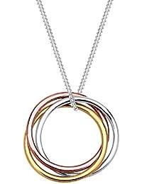 Elli Damen-Kette mit Anhänger Kreis Silber vergoldet