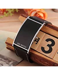 Slb Works Led Digital Date Leather Strap Stainless Steel Black Unisex Wrist Watch