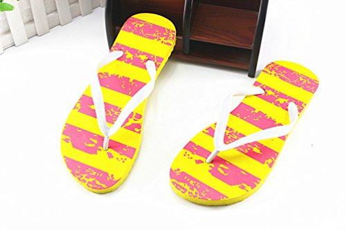 Heheja Femmes Plat Plage Tongs Casual Sandales Confort Flip Flops Jaune