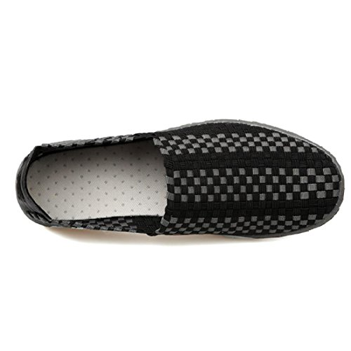 Estate casual Uomo traspirante sandali Black portatile Scarpe Moda Tessere RqpwpSCE