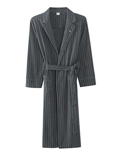 Men's Sleepwear Cotton Nightgown Home Clothing Long-sleeved Thin Section Bathrobes Bathrobe Stripe Robe