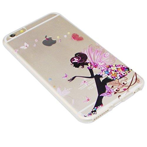 iPhone SE Coque fine, iPhone 5S clair TPU Coque, iPhone 5Coque en silicone, iPhone SE Newstar fin à coque souple en TPU pour Apple iPhone 5S, papillon belle fleur Fée Ange Fille Imprimé Motif coloré  A TPU 1