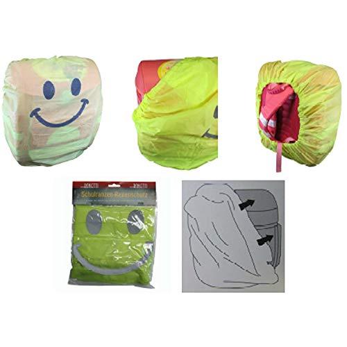Bonetti Schulranzen Regenüberzug aus Polyester mit Reflektor-Smiley, Aufbewahrungstasche und Gummizug, Maße: ca. 90 x 80 cm Rucksackschutz Ranzenüberzug Regenschutzhülle