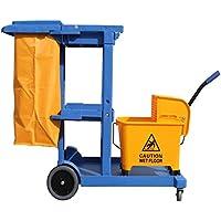 Carro de limpieza Profesional Plástico con tres bandejas, saco de vinilo de 100 Lt. con tapadera y cubo escurrefácil profesional 25 Lt. Medidas 120x52x96 cm. (L x F x A)