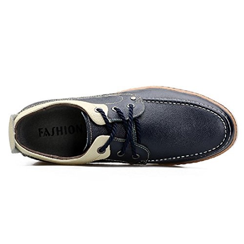 Uomo Moda Scarpe di pelle Antiscivolo Ballerine Scarpe casual formatori euro DIMENSIONE 36-43 Blue