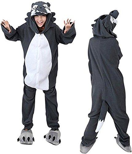 ABYED® Jumpsuit Tier Karton Fasching Halloween Kostüm Sleepsuit Cosplay Fleece-Overall Pyjama Schlafanzug Erwachsene Unisex Lounge,Erwachsene Größe M - für Höhe 159-166CM Wolf