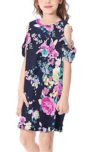 BesserBay Kinder Blumen Kleider mit Schulter-Cut-Outs Casual Sommerkleid Navy S - Kleider, Cut-outs
