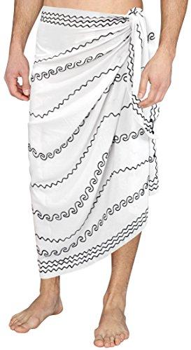 Handtuch Geschenk-Verpackung Pareo Badeanzug Bademode Badebekleidung Badeanzug vertuschen Mens Sarong Weiß 1