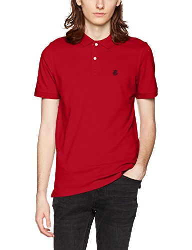 SELECTED HOMME Herren T-Shirt Shharo Ss Embroidery Polo Noos Rot (Scarlet Sage)