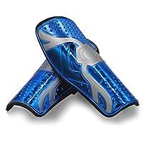 HUIDALI Guardabarros de fútbol para Adultos y jóvenes, Equipo de protección liviano Almohadillas de fútbol para niños, niños y niñas Mayores de 12 años (21.5 cm x 9,5 cm) (Azul)