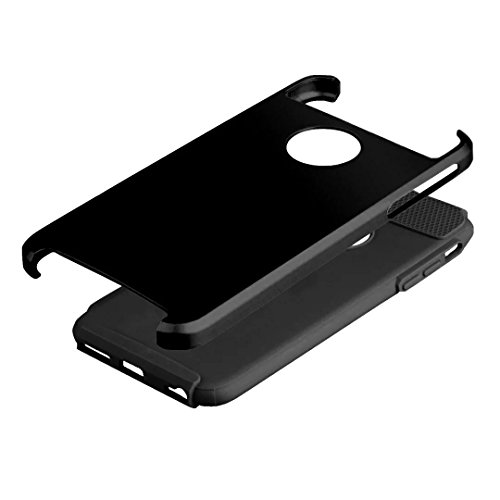 iPhone 7 hülle,Lantier Tough Armor [Extreme Schutz] Dual Layer Scratch Resistant Stoßdämpfende Rugged und Slim Defender Auto Abdeckung für iPhone 7 (4,7 Zoll) Schwarz Black