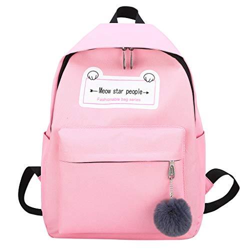 ke Schulrucksäcke Schultasche Mädchen Jungen Backpack Daypacks Kleine Frische Haarball Anhänger Canvas Rucksack Cute Student Bag Weibliche Reisetasche(Rosa,28 * 12 * 40 cm) ()