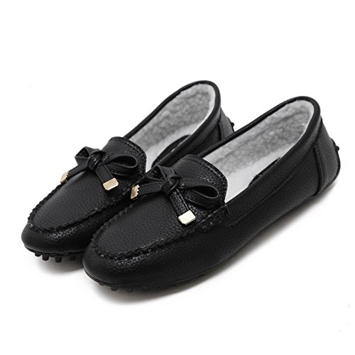 AalarDom Femme Rond Tire Matière Mélangee Chaussures Légeres Noir