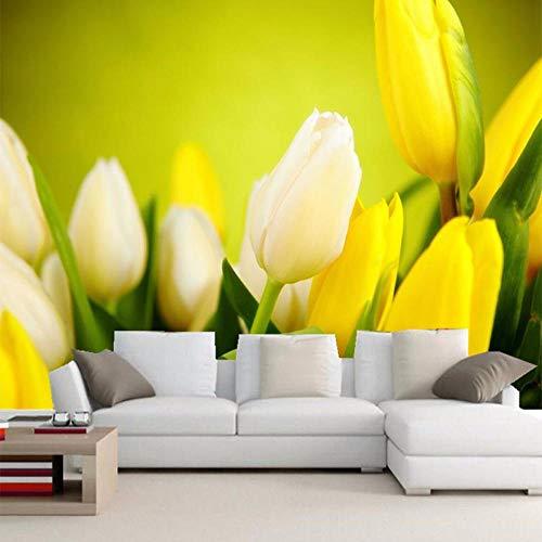 Tapete,Mode Innen Blume Design Tapete 3D Stereo Gelbe Tulpe Foto Wandbild Wohnzimmer Hintergrund Wand Romantische Decor Wand Papiere,200 * 140cm - Hellen Platten Papier Gelben Die