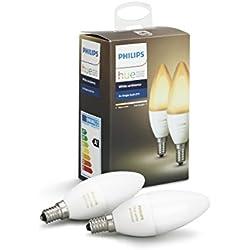 Philips Lighting Hue White Ambiance Lampadine LED, E14, 6 W, Bianco, 2 Pezzi