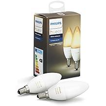 Philips Hue White Ambiance - Pack de 2 bombillas LED E14, 6 W, iluminación inteligente, tonos de luz blanca cálida y fría regulable, compatible con Apple Homekit y Google Home