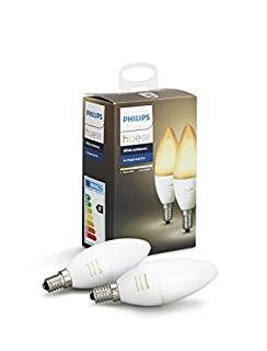 Philips Hue White Ambiance Paquet double de bougies à LED E14, à intensité variable, toutes les nuances de blanc, contrôlable via une application, compatible avec Amazon Alexa, Lot de 2 (B0748N23WS) | Amazon Products