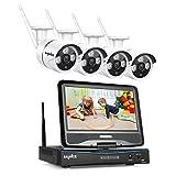 Sannce 4CH HD Kit de vidéosurveillance sans Fil 1080P NVR avec LED Ecran Moniteur HD 10,1 Intégré +4 IP Caméra WiFi Surveillance,Résolution Accès à Distance,sans HDD