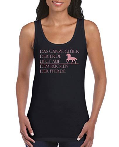 Comedy Shirts - Das ganze Glueck der Erde liegt auf dem Ruecken der Pferde - Damen Tank Top - Schwarz/Rosa Gr. XL