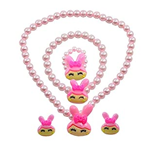"Angel Glitter "" Life Is A Flower So Precious In Your Hand"" Mother-Of-Pearl 3-Pcs Jewellery Set For Kids"