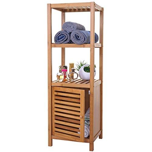 Mendler Badregal HWC-B18, Badezimmer Badschrank Standregal mit Tür, Bambus ~ 110x36x34cm