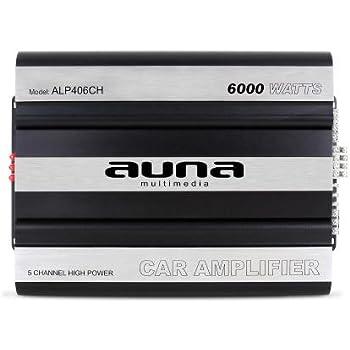Auna - Ampli auto 5 x 160W RMS - Amplificateur pour voiture avec technologie Mosfet (bass boost, 5 canaux, bridgeable) - Noir/Argent