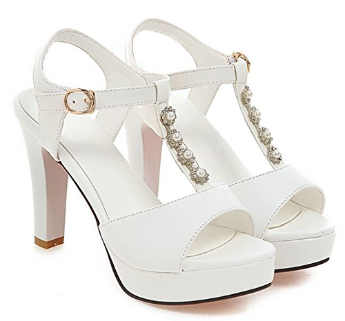Aisun Femme Mode Salomé Talon Haut Bloc Sandales Blanc