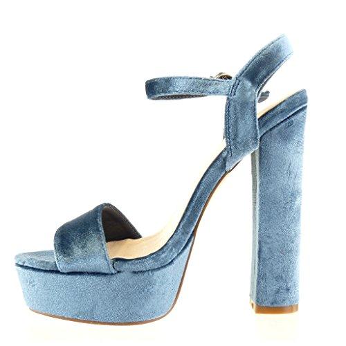 Angkorly Damen Schuhe Sandalen Pumpe - Plateauschuhe - String Tanga Blockabsatz High Heel 15 cm Blau