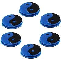 perfk 6 Piezas de Amortiguador de Raquetas de Tenis Antivibrador Accesorio para Deportista Dampener Azul+Negro