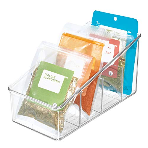 iDesign Aufbewahrungsbox mit 4 Fächern, große Vorratsdose aus BPA-freiem Kunststoff, Küchenorganizer für Verpackungen und Gewürze, durchsichtig