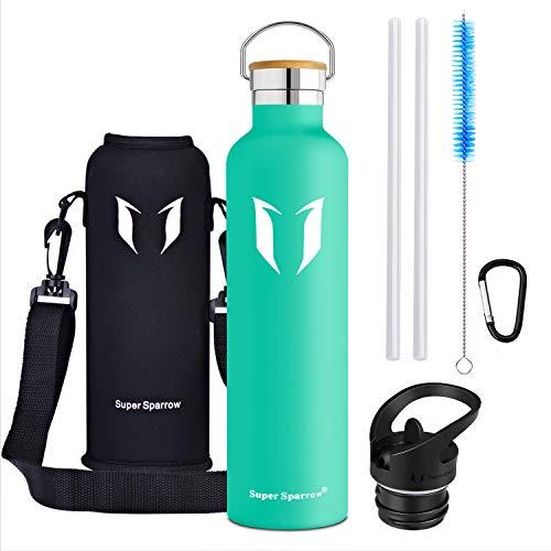 1000 Vakuum (Super Sparrow Trinkflasche - 1000ml - Wasserflasche Doppelwandig Vakuum Isoliert Edelstahl - Auslaufsicher Sport Trinkflaschen | Ideale Flasche - BPA-freie - 2 Deckel + Tragetasche)