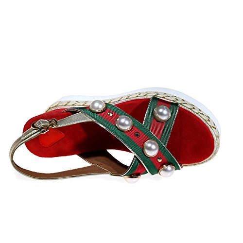 Pantoffeln Stroh mit Perle GJDE Technologie Sommer Sandalen Hang Nietdekoration Red wfI8X4q5
