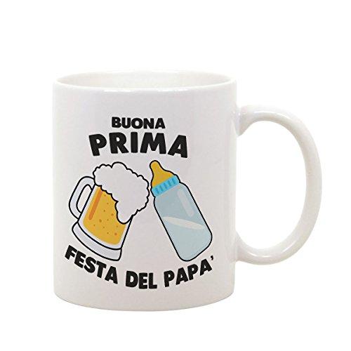 Tazza mug in ceramica festa del papà buona prima festa del papà - beer - biberon - humor - happy father's day - idea regalo