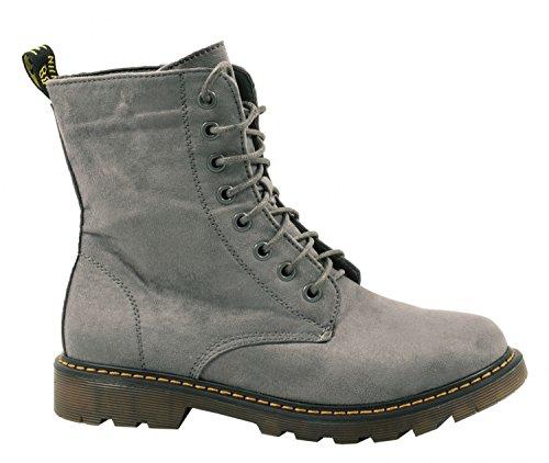 Elara Damen Biker Boots | Trendige Kurzschaft Stiefeletten | Schnallen Nieten Grau Wildleder