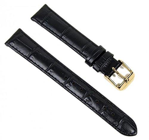 Abeler & Söhne Ersatzband Uhrenarmband Leder Band 16mm schwarz/Gold AS72333276