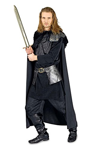 Karneval-Klamotten Nachtwache Krieger-Kostüm Herren schwarz Mittelalter-Kostüm Waffenrock inkl. Umhang Größe (Mittelalter Krieger Kostüm)