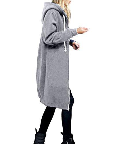 StyleDome Damen Langarm Kapuzen Sweater Warme Strickjacke Zip Jacket Oversized Lange Mantel Grau A 52 Oversized Trenchcoat