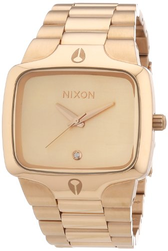 Nixon Herren-Armbanduhr The Player All Rose Gold Analog Quarz Edelstahl beschichtet A140897-00 (Nixon Watch Gold Rose)