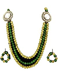 Fashionese Yellow & Green Alloy Necklace Set For Women (Fashionese004)