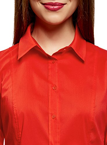 oodji Collection Donna Camicia Basic in Cotone Rosso (4500N)