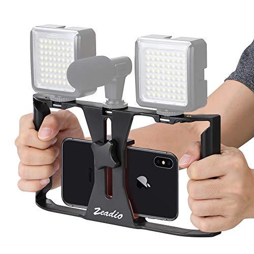 Zeadio Supporto video per telefoni, Stabilizzatore Impugnatura, Supporto di Treppiedi per iPhone Samsung Huawei Sony LG Nexus Nokia e tutti i telefoni