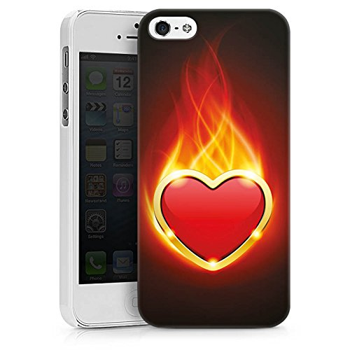 Apple iPhone X Silikon Hülle Case Schutzhülle Herz Liebe Flammen Hard Case weiß