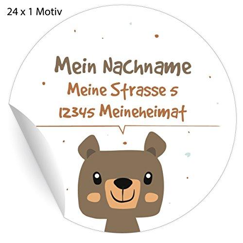 24 Custom Kinder Adress-Aufkleber mit Bär, MATTE Papier Sticker mit ihrem Text nach Wunsch universal Etiketten, Namensschilder für Tischdeko, Schule, Pakete (4,5cm)