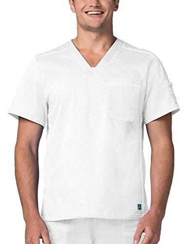 Adar Pop-Stretch Mens Contemporary Vneck Top - 3214 - White - S