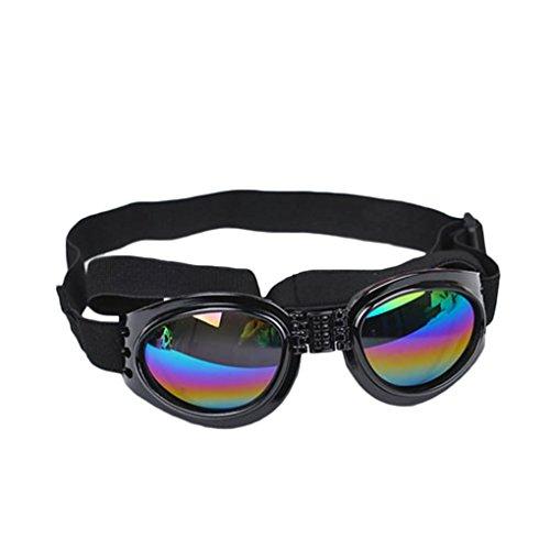 Luckiests Faltbares Hunde UV-Schutz-Sonnenbrillen Objektive mit verstellbarem Gurt
