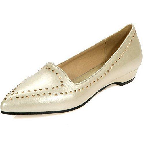 08e6b8708adedc VogueZone009 Damen Lackleder Spitz Zehe Niedriger Absatz Eingelegt Pumps  Schuhe Cremefarben